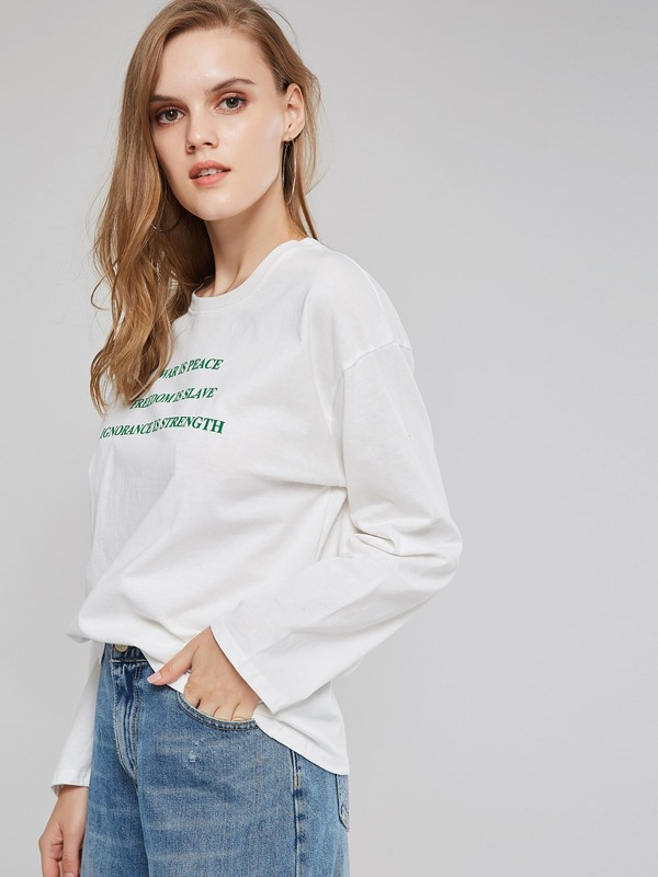 Round Neck Letter Print Women's Simple T-Shirt