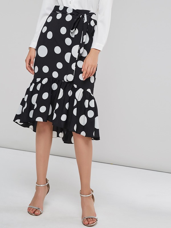Polka Dots Lace-Up Falbala Cotton Blends Skirt