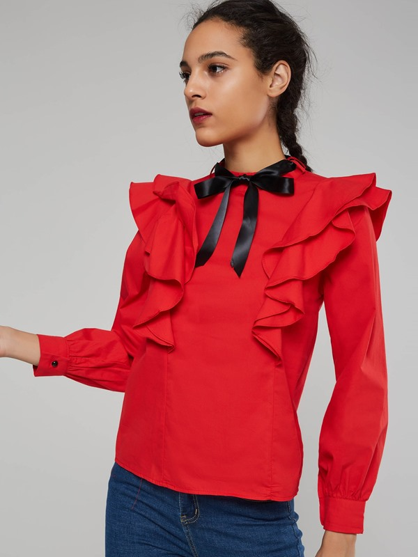 Sweet Ruffle Bow Tie Neck Women's Blouse
