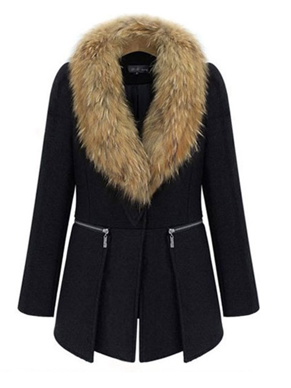 Plus Size Wool Blends Fur Collar Thick Women's Overcoat