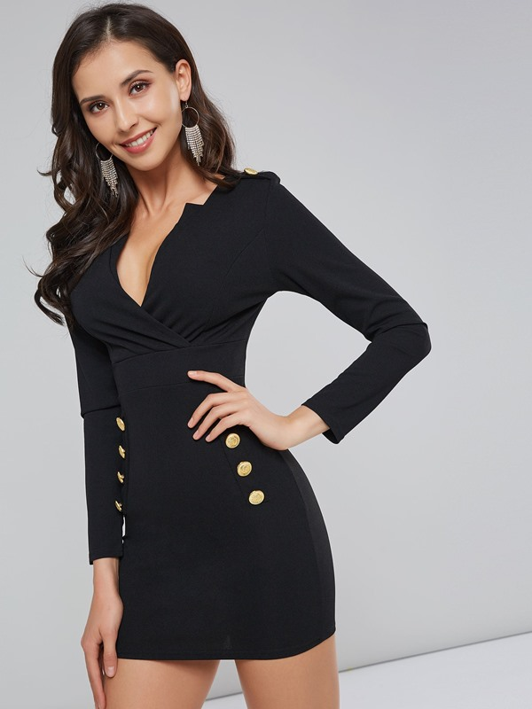 Long Sleeve Button Pocket Women's Bodycon Dress