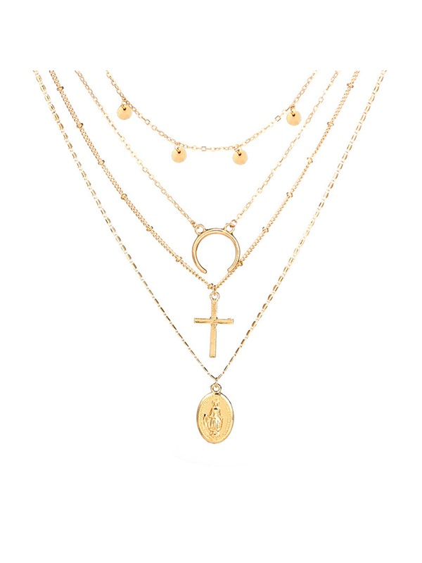 Chic Figure Pattern Golden Layered Necklace