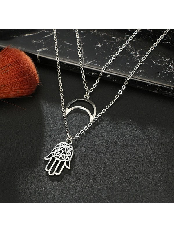 Hollow Out Palm & Moon Shape Silver Layered Necklace