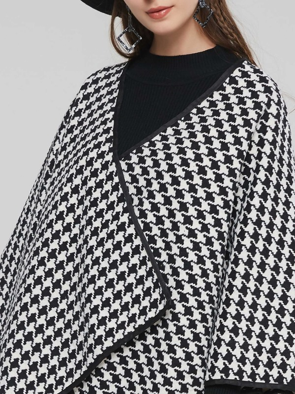 Batwing Sleeve Houndstooth Mid Length Women's Cape Coat