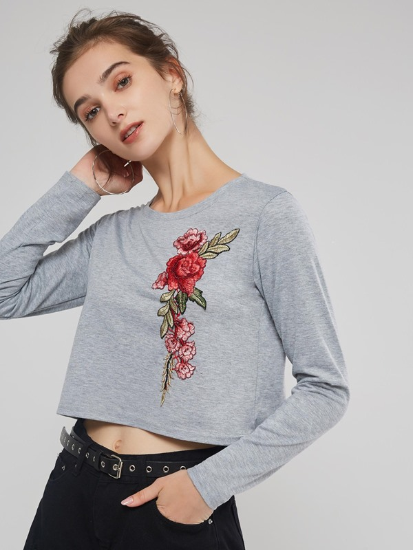 Embroidery Short Round Neck Women's T-Shirt