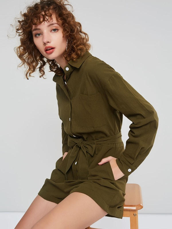 Single Breasted Lapel Long Sleeve Short Women's Romper