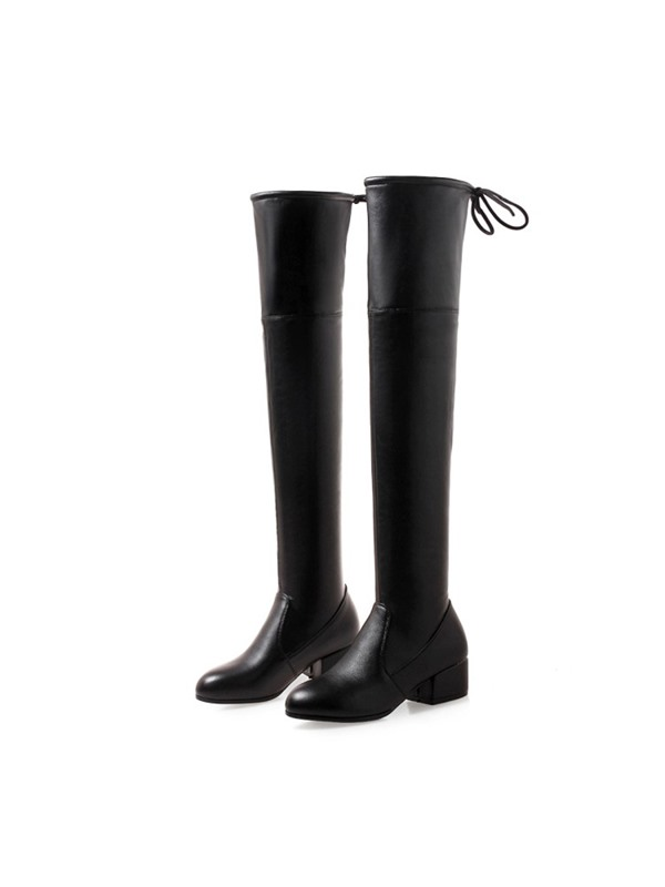 Round Toe Chunk Heel Over The Knee Boots
