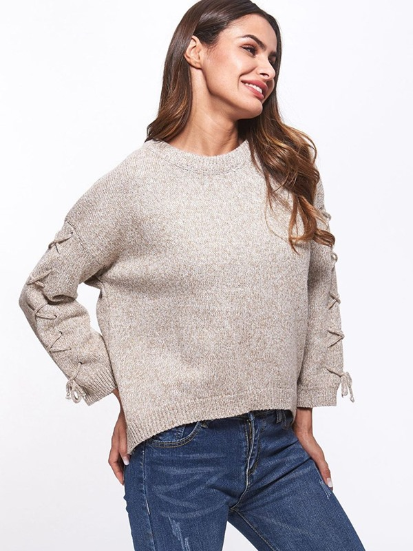 Loose Plain Loose Lace-Up Women's Sweater