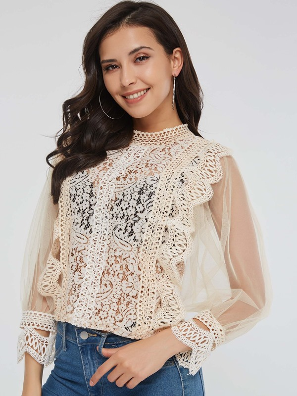 Lace Mesh See-Through Long Sleeve Women's Blouse