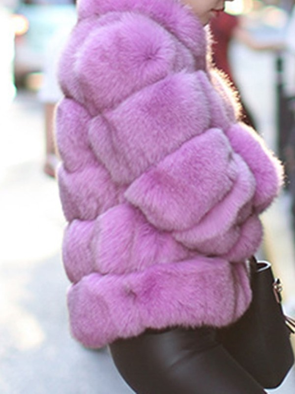Luxury Pure Color Faux Fur Thick Women's Overcoat