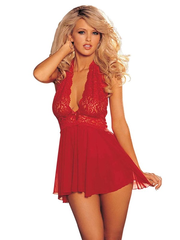 Halter Backless Lace Sexy Babydoll