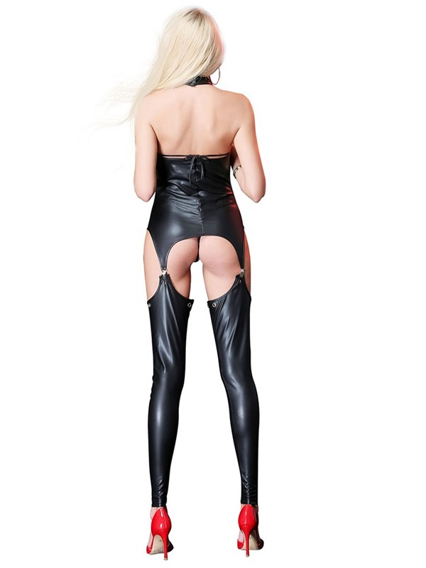 Open Chest Hollow Lace-Up Sexy Patent Leather Bodysuit