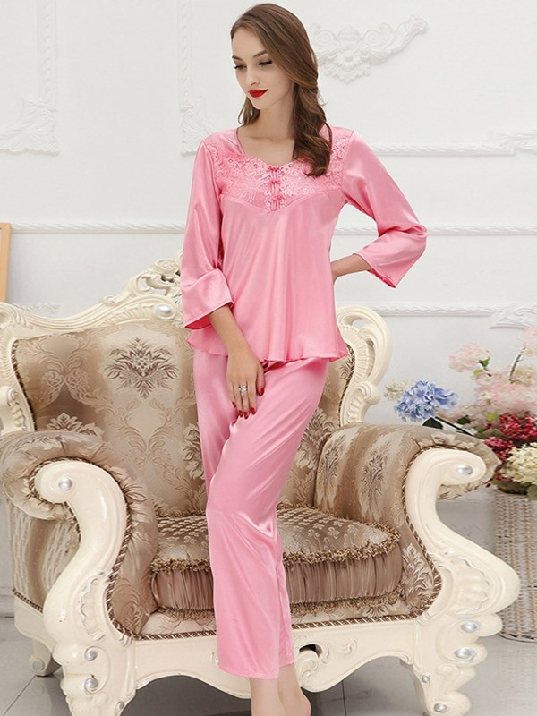 Bowknot Pullover Plain Sleepwear 2 Pieces