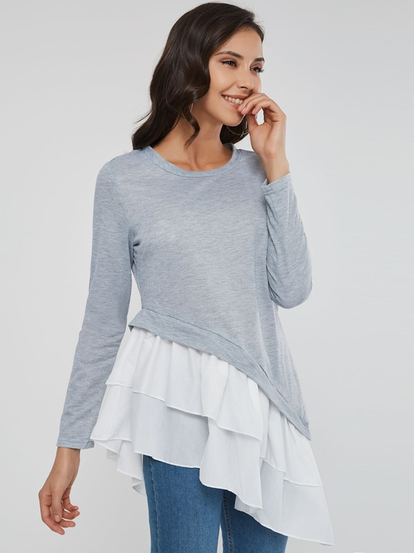 Mid-Length Round Neck Long Sleeve Asymmetric Women's T-Shirt