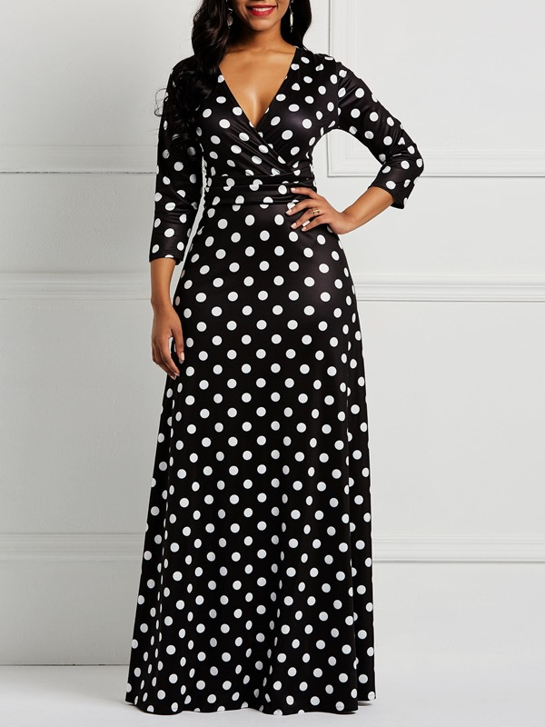 V-Neck Floor-Length Pullover Women's Maxi Dress