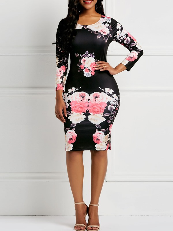 Long Sleeve Print Round Neck Women's Bodycon Dress