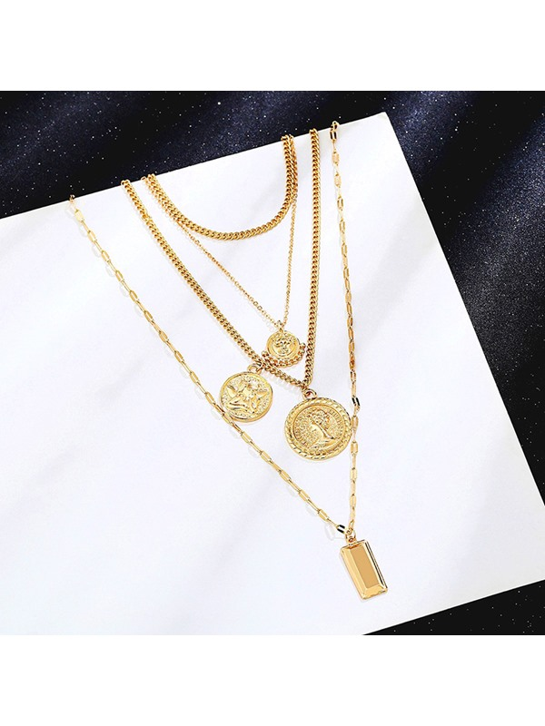 Virgin Mary Pendent Link Chain Golden Metal Necklace