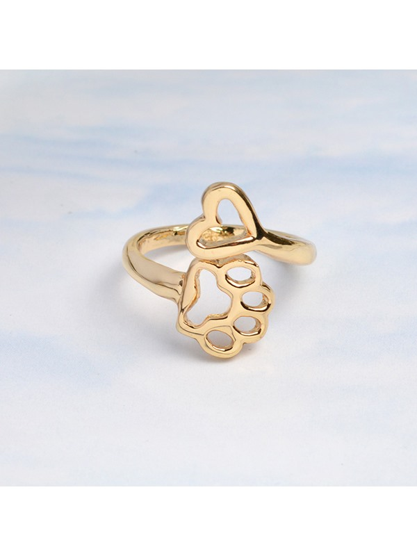 Hollow Out Dog Paw Shape Cute Metal Ring