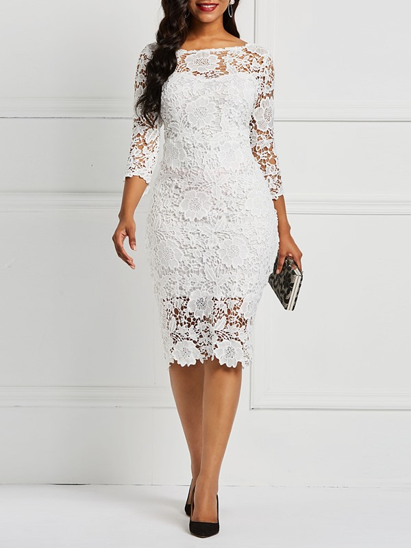 Hollow Pullover Patchwork Floral Women's Lace Dress