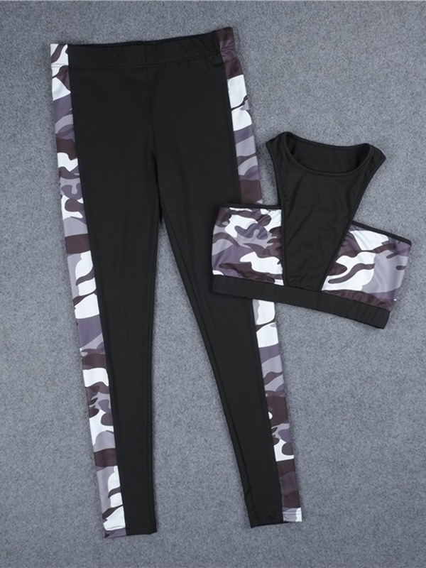 Breathable Print Camouflage Women's Sports Set