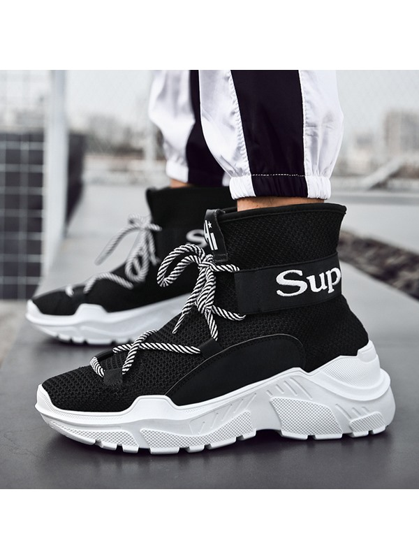 Mesh High-Cut Upper Lace-Up Round Toe Men's Sneakers