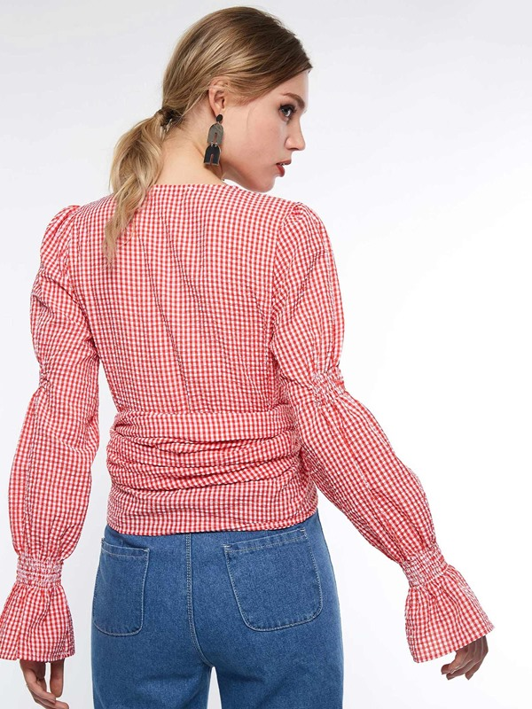 Lace-Up Plaid V-Neck Standard Women's Blouse