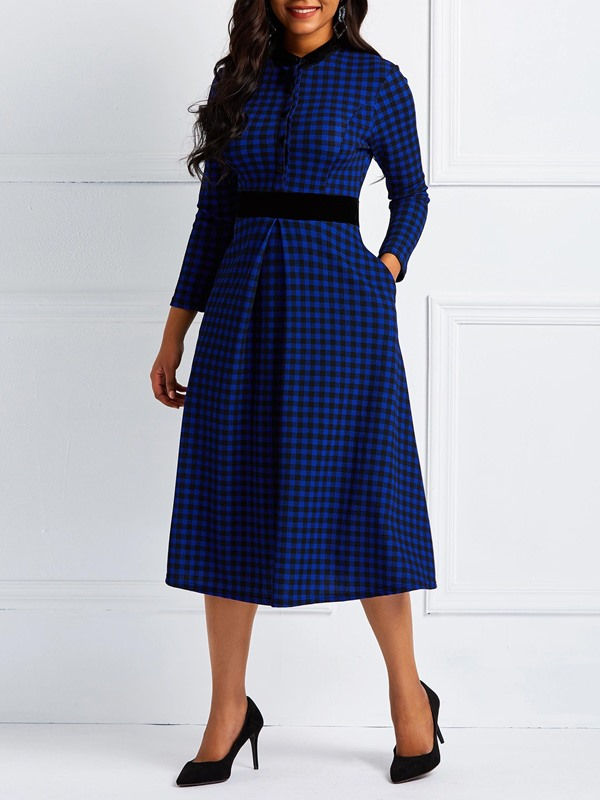 Long Sleeve Stand Collar England Women's Maxi Dress
