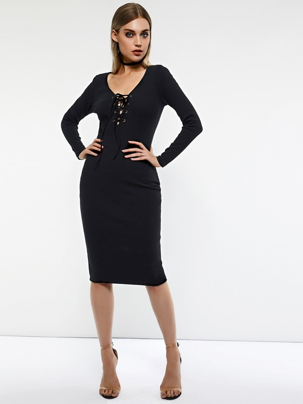 Long Sleeve Pullover Stretchy Women's Bodycon Dress
