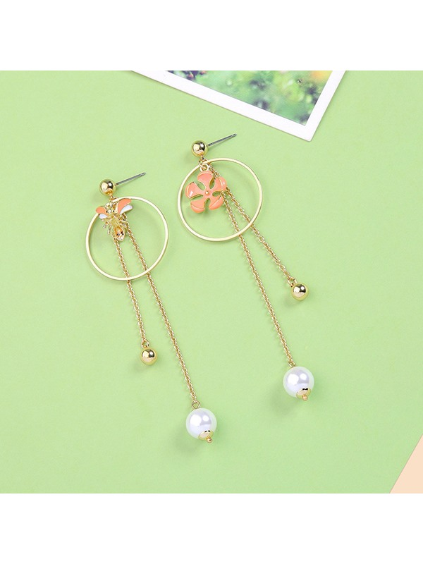 Floral Shape Pearl Party Drop Earrings