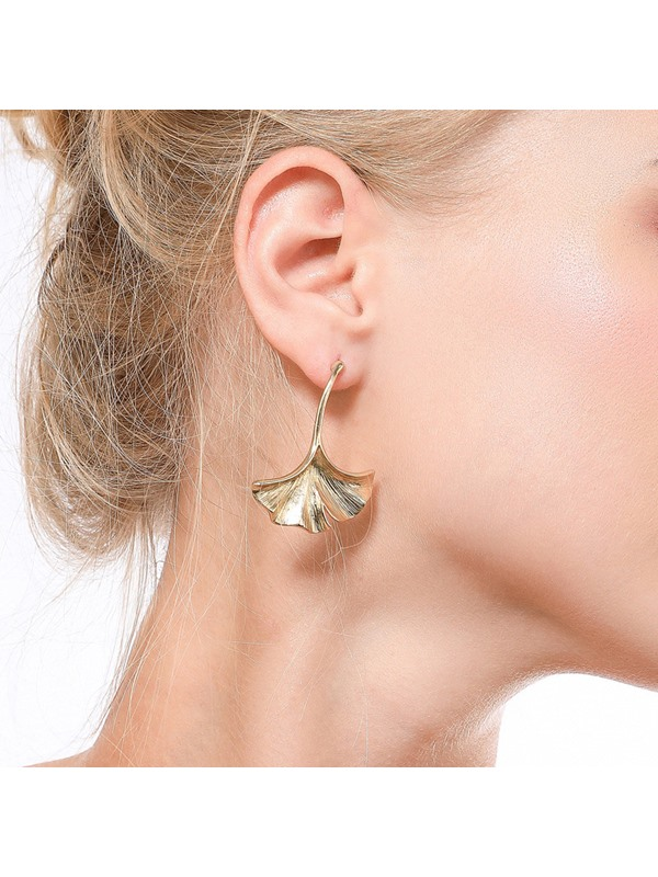 Golden Leaf Shape E-Plating Party Earrings