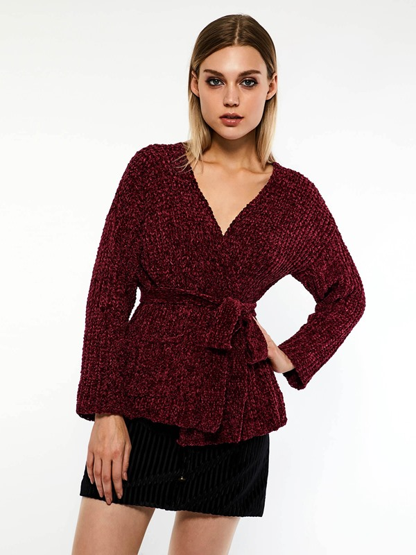 Lace-Up Lace-Up Fall Mid-Length Women's Sweater