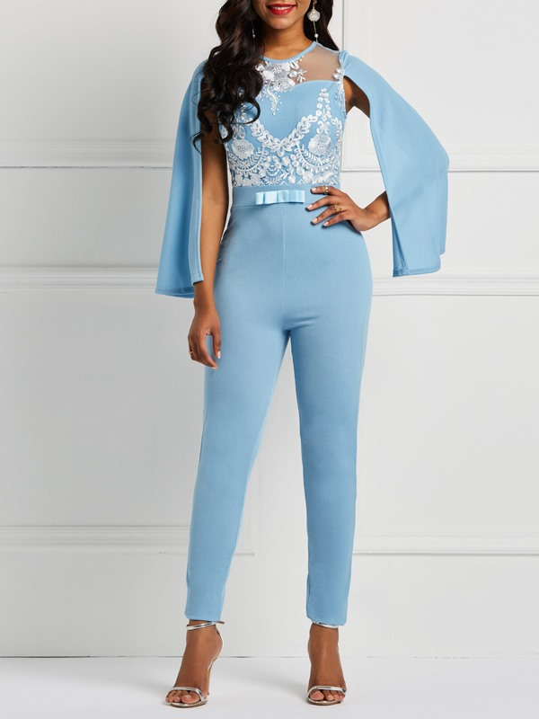 See-Through Lace Contrast Trim Skinny Women's Jumpsuit