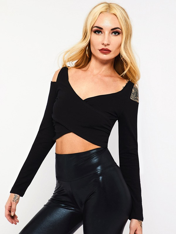 Short Long Sleeve Pleated Women's Cropped T-Shirt