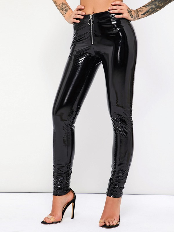 Zipper Casual PU Plain Women's Leggings