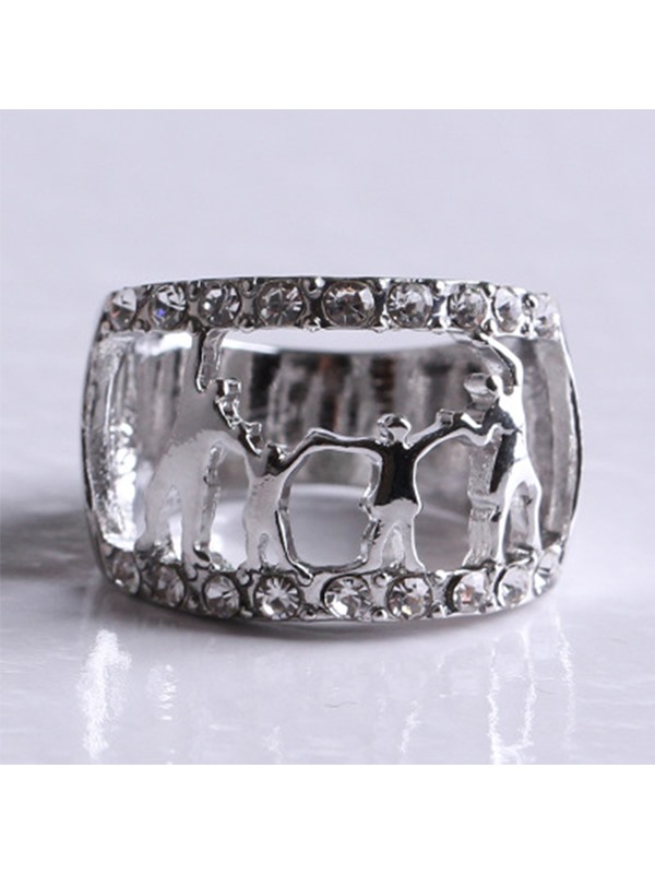 Family Silhouette Design Alloy Ring Three Colors to Choose