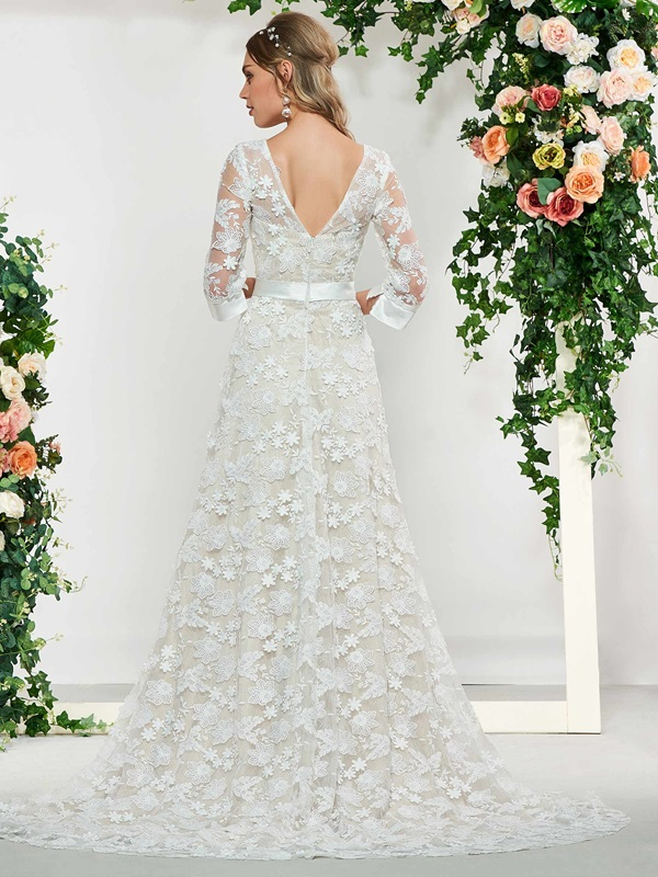 Split-Front Buttoned Lace Wedding Dress 2019 with Sleeves