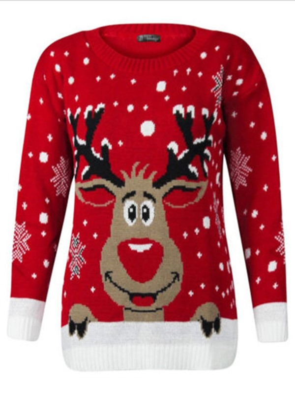 Thin Print Round Neck Loose Elk Women's Sweater