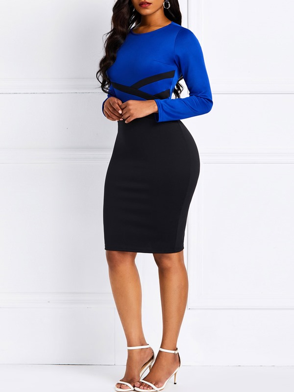 Long Sleeve Patchwork Color Block Fall Women's Bodycon Dress