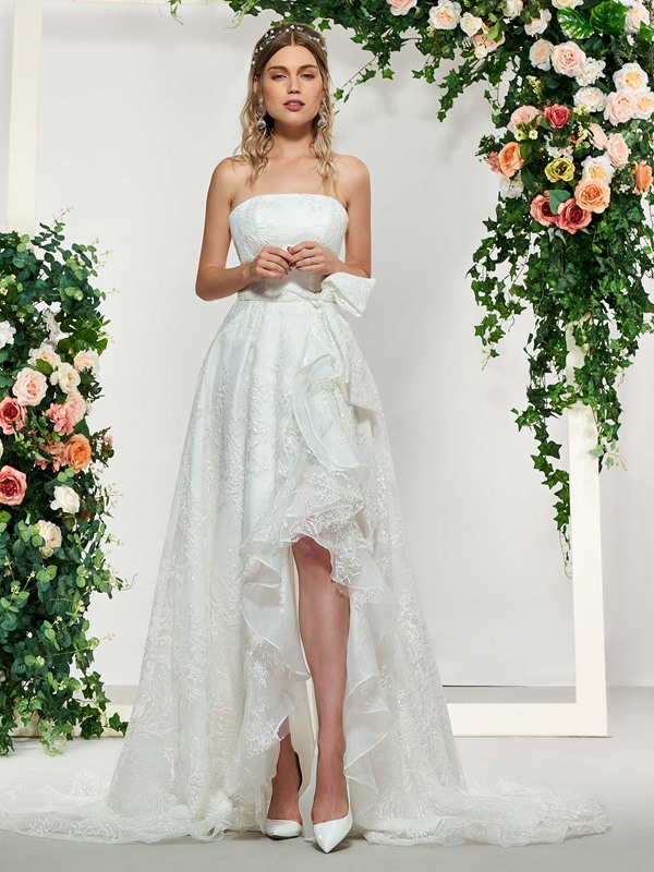A-Line Strapless Lace Beach Wedding Dress