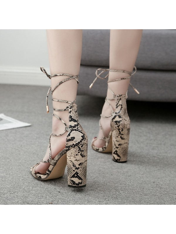 Serpentine Lace-Up Chunky Heel Women's Sandals
