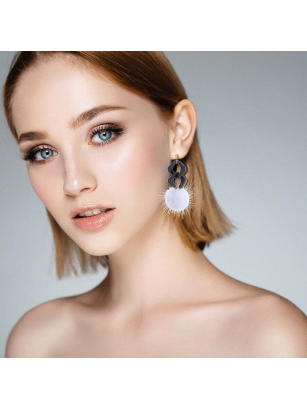 Elegant Pompon Shape Acrylic Drop Earrings