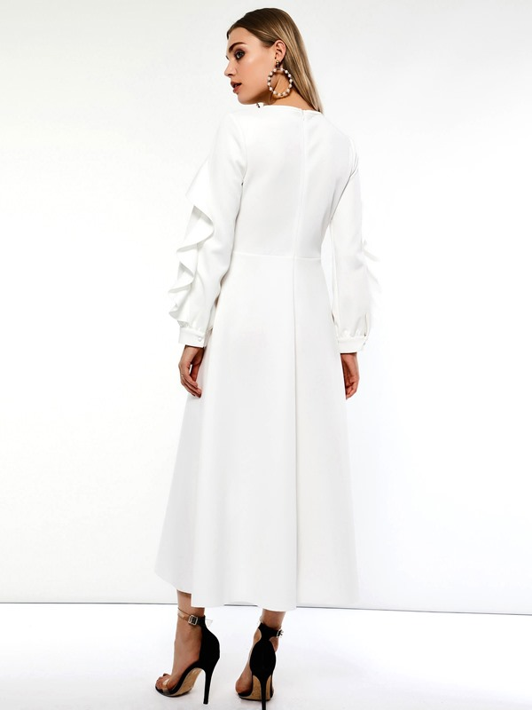 Long Sleeve Expansion Ruffle Sleeve Women's Maxi Dress