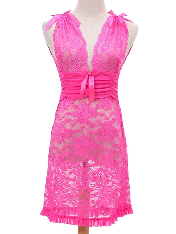Pleated Bowknot Plain Backless Nightgown Sleeveless Lace Babydoll