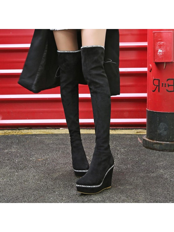 Wedge Heel Lace-Up Back Women's Knee High Boots