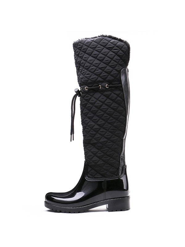 Block Heel Plain Back Zip Women's Hunter Boots