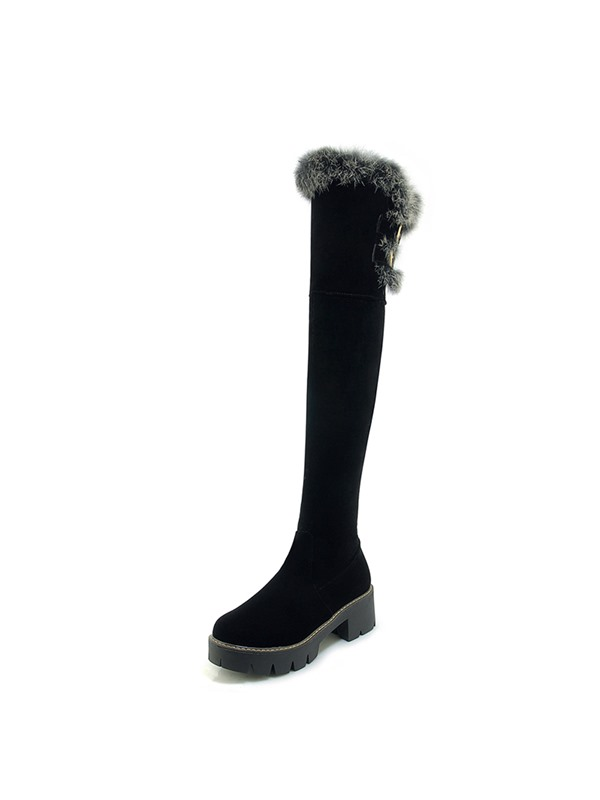 Side Zipper Plain Round Toe Women's Knee High Boots