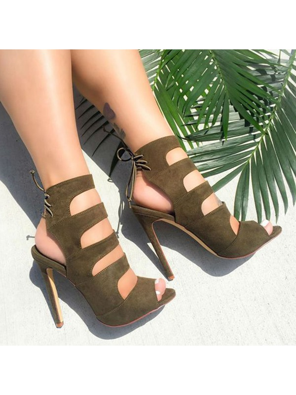 Peep Toe Stiletto Heel Lace-Up Women's Sandals