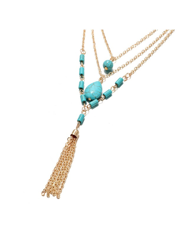 Vintage Turquoise Decorated Pendant Layered Necklace