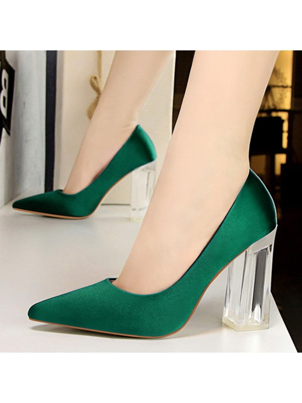 PU Pointed Toe Chunky Heel Slip-On Women's Pumps