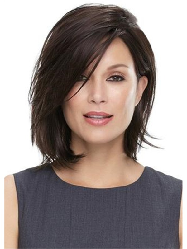 Middle Length Natural Straight Bob Hairstyle Blunt Cut Side Parted Synthetic Capless Wigs 12 Inches